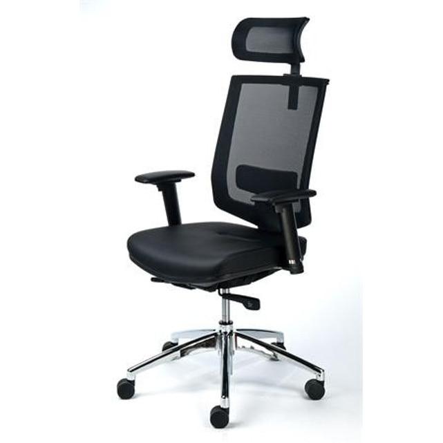 Exkluzív fejtámaszos irodai szék, fekete bőrborítás, feszített hálós háttámla, alumínium l eMAG.hu