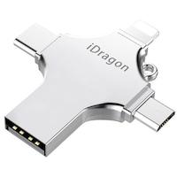 USB-C стик 64GB iUni iDragon 4 в 1 Lightning, MicroUSB, Type-C, USB 3.0, iOS и Android, Сребрист