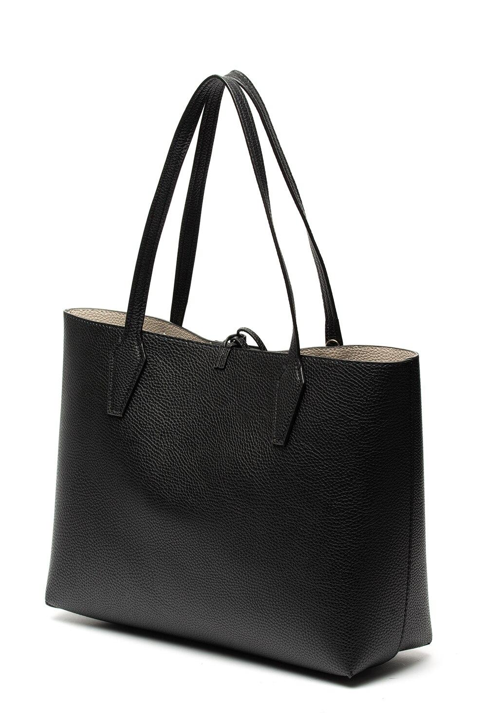 Guess, Bobbi kifordítható shopper fazonú bőrtáska, fekete