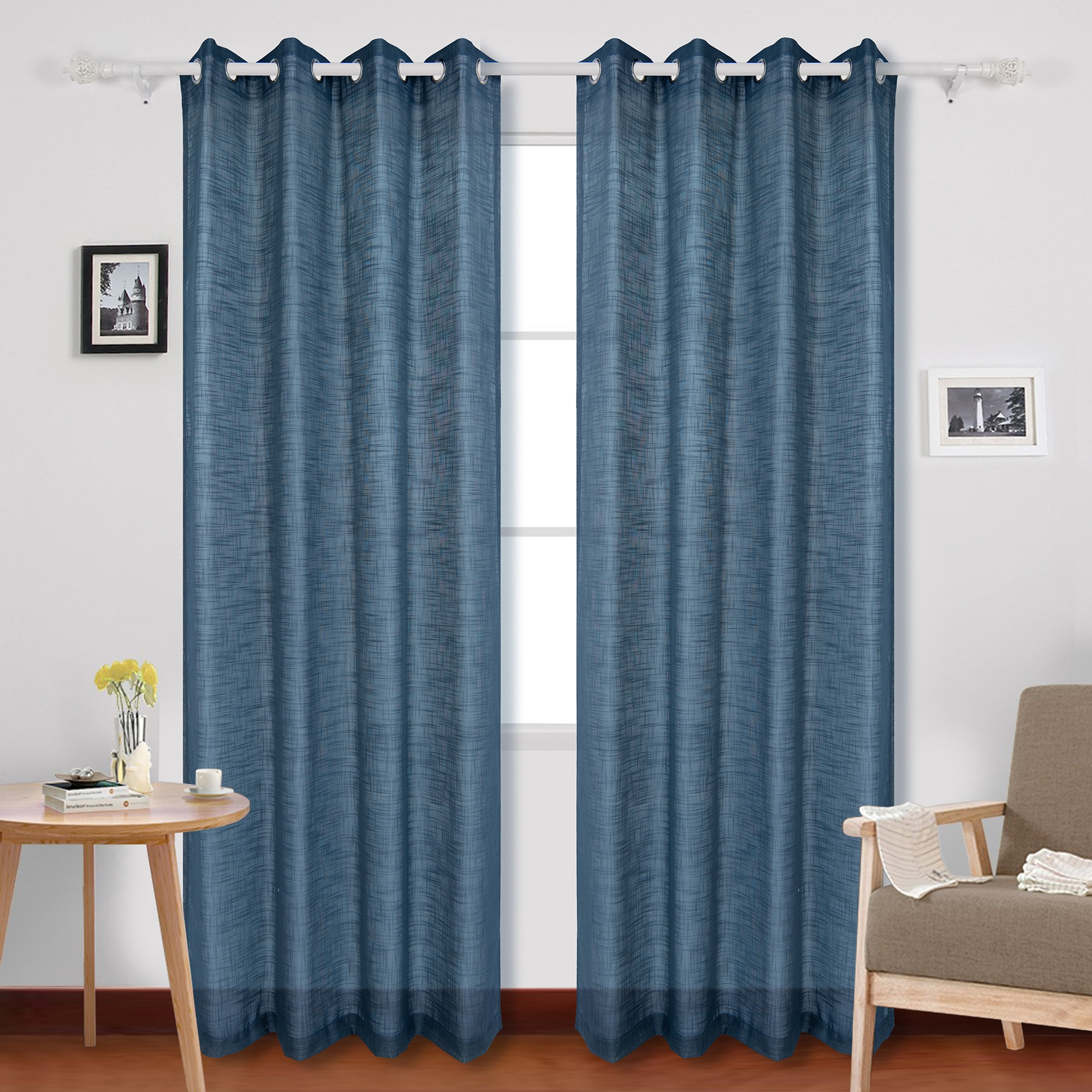 Fotografie Set perdele Kring, 2 * 140x245 cm, Poliester, Albastru inchis