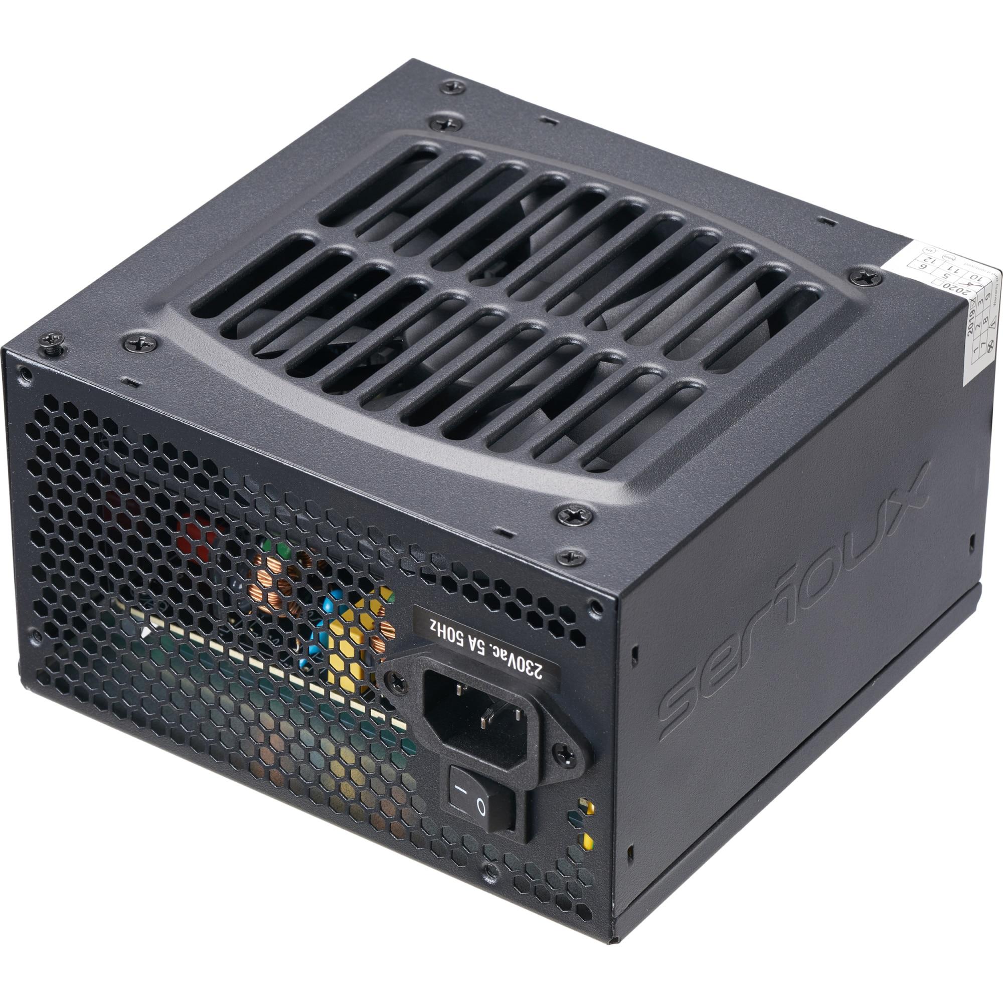 Fotografie Sursa ATX Serioux 500W, Solas White, PFC Activ, Certificare 80+, Eff peste 80%, cabluri mansetate