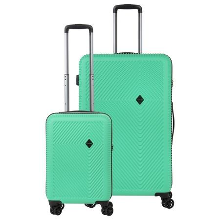 Комплект куфари, ABS/PC, Шифър TSA, USB включено, код Окобан, CarryOn Connect, 2 броя, Зелен