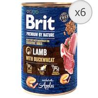 Hrana umeda pentru caini Brit Premium Sensitive, Lamb With Buckwheat, 6 x 400g