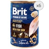 Hrana umeda pentru caini Brit Premium, Fish With Fish Skin, 6 x 400g