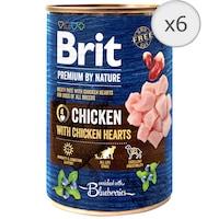 Hrana umeda pentru caini Brit Premium, Chicken With Hearts, 6 x 400g