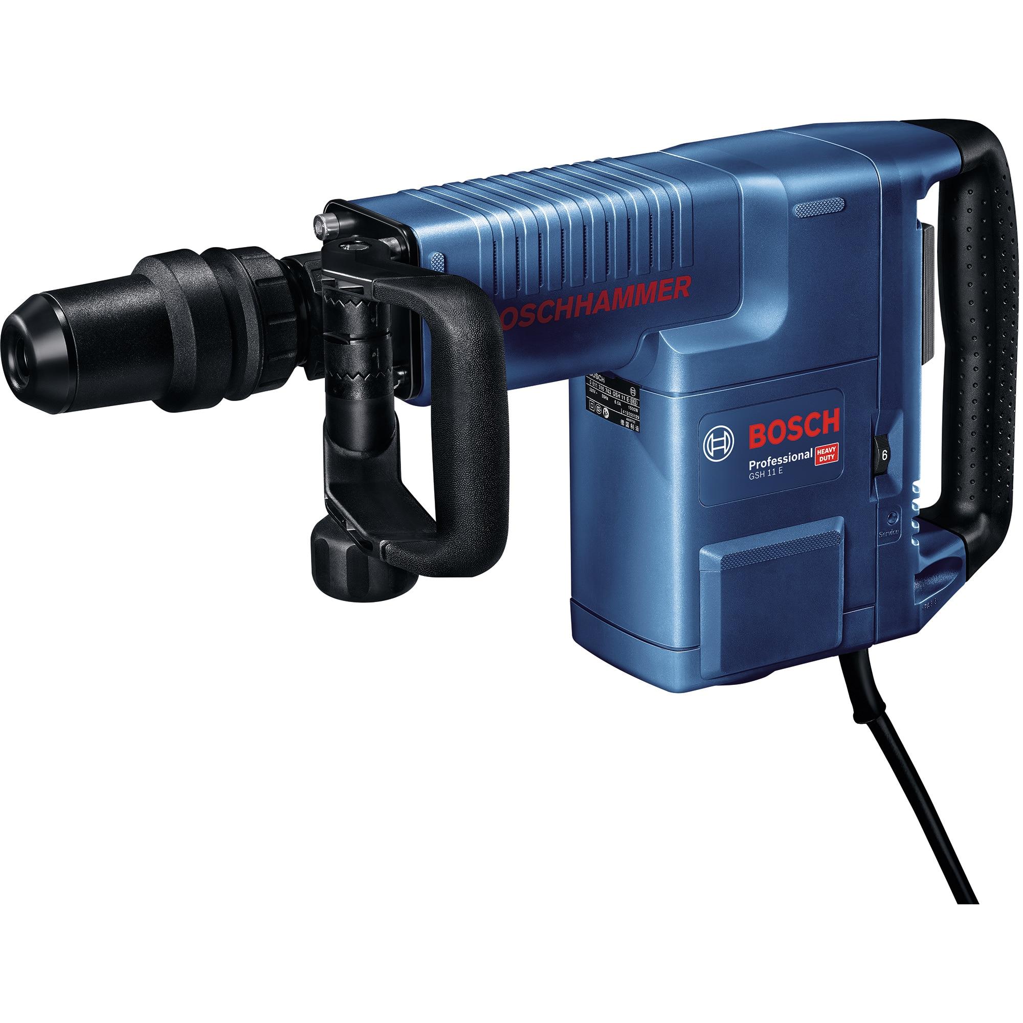 Fotografie Ciocan demolator Bosch Professional SDS Max GSH 11 E, 1500 W, 16.8 J, 1890 PPM + maner suplimentar + valiza profesionala + 1 dalta + tub de vaselina + laveta