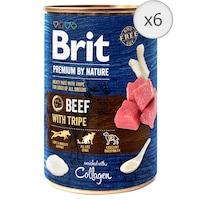Hrana umeda pentru caini Brit Premium, Beef With Tripes, 6 x 400g