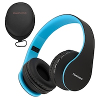 PowerLocus P1 Bluetooth fejhallgató, vezeték nélküli fül köré illeszkedő összehajtható, micro SD, FM Rádió (Kék)