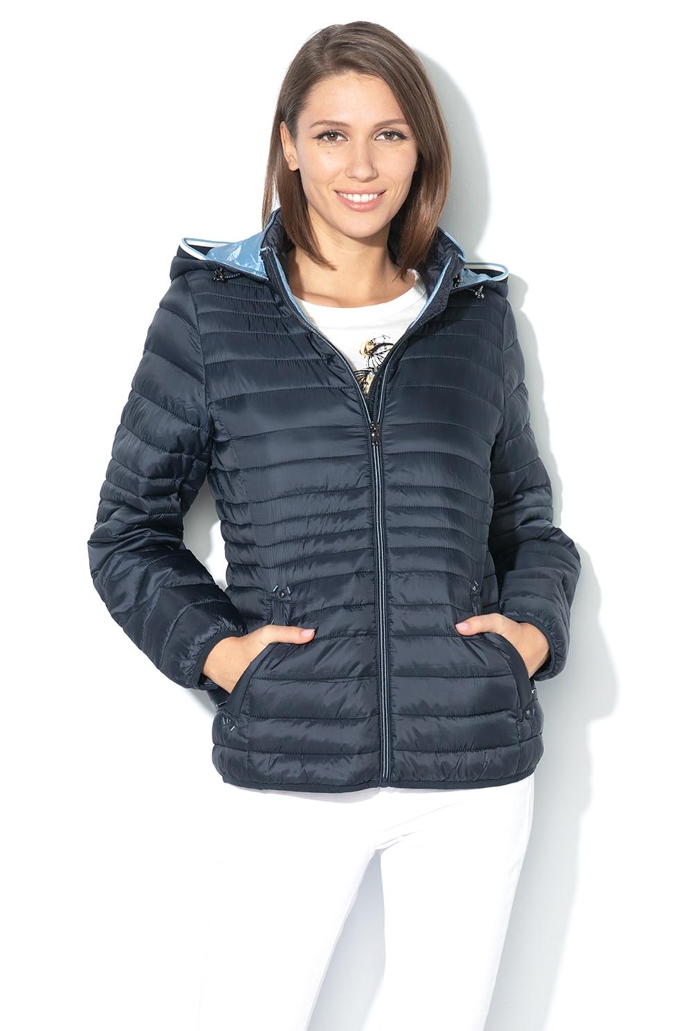 Esprit, Pihével bélelt kapucnis dzseki, Tengerészkék, XS