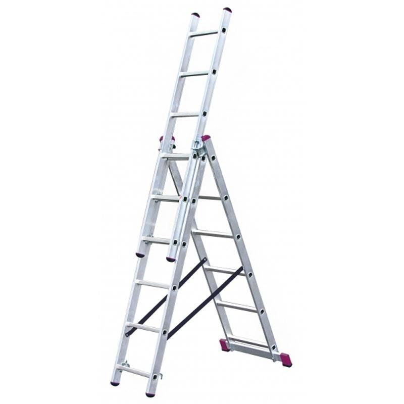 Fotografie Scara multifunctionala cu functie de egalizare din aluminiu Krause KR-033369, 4.55 m inaltime lucru, 3x6 trepte, pliabila