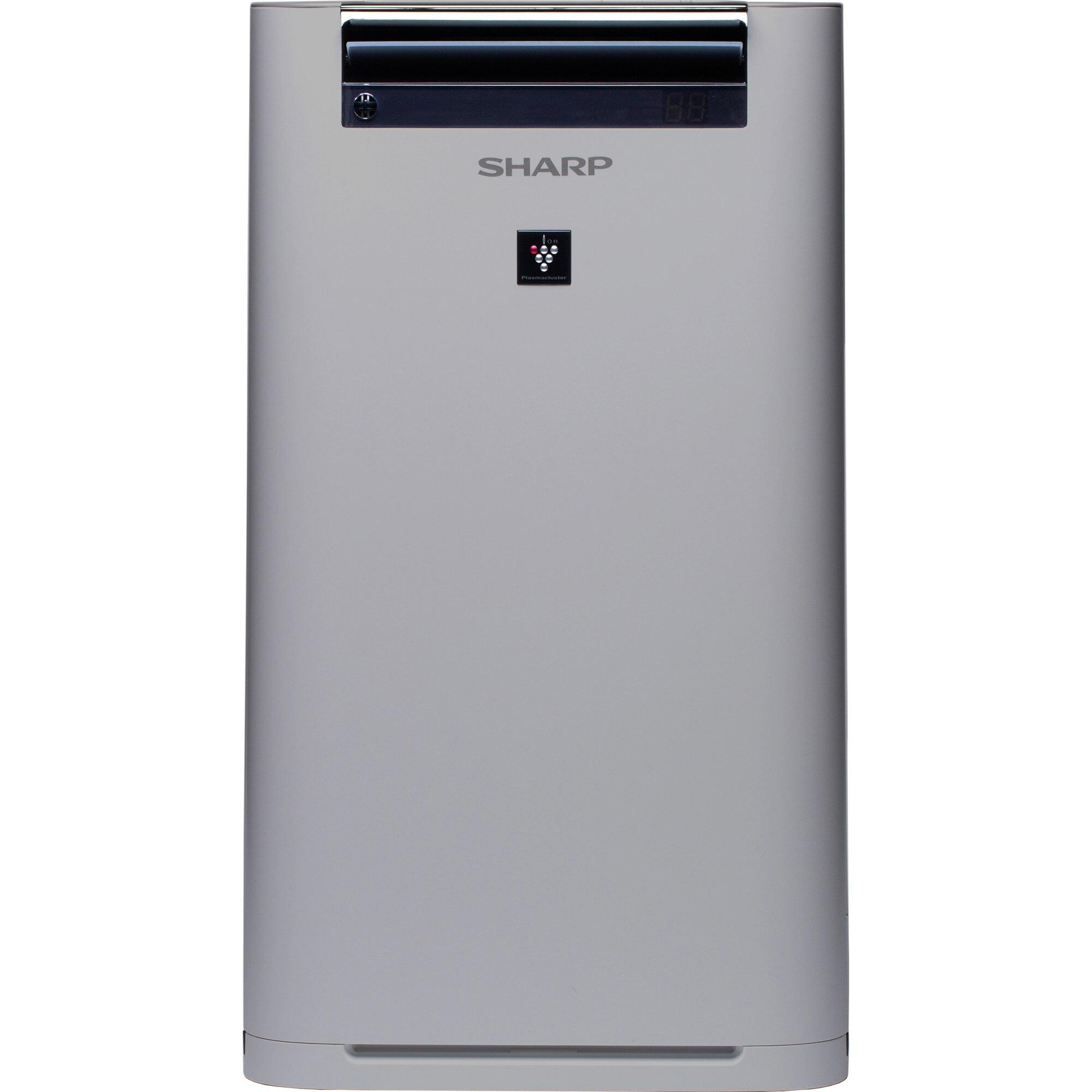 Fotografie Purificator de aer cu umidificator Sharp UA-HG60E-L, 4 modele de filtrare, 6 senzori de praf, Plasmacluster Ion Technology, 48m², alb