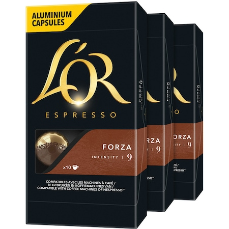 Set 3 x capsule cafea, L'OR Espresso Forza, intensitate 9, 30 bauturi x 40 ml, compatibile cu sistemul Nespresso ® , 30 capsule aluminiu