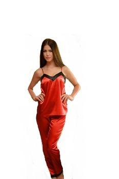 szatén pizsama nyári, Piros