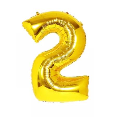 Óriás számos lufi / arany színű metál fólia, 72 cm, 2-es számjegy