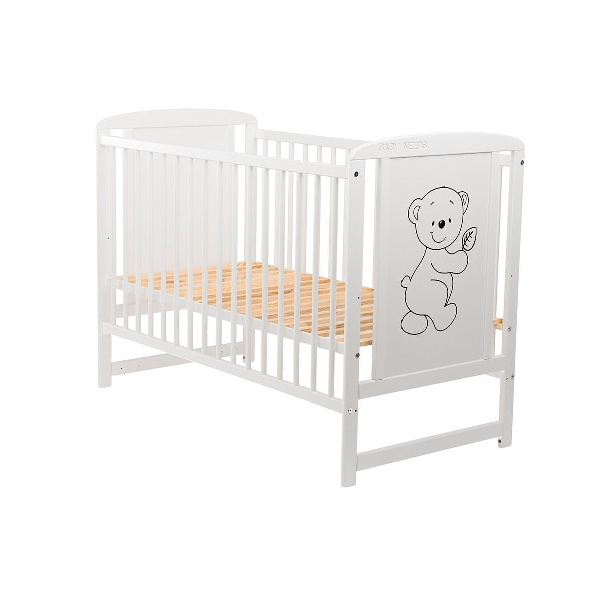 Fotografie Patut din lemn BabyNeeds Timmi, 120x60 cm, Alb