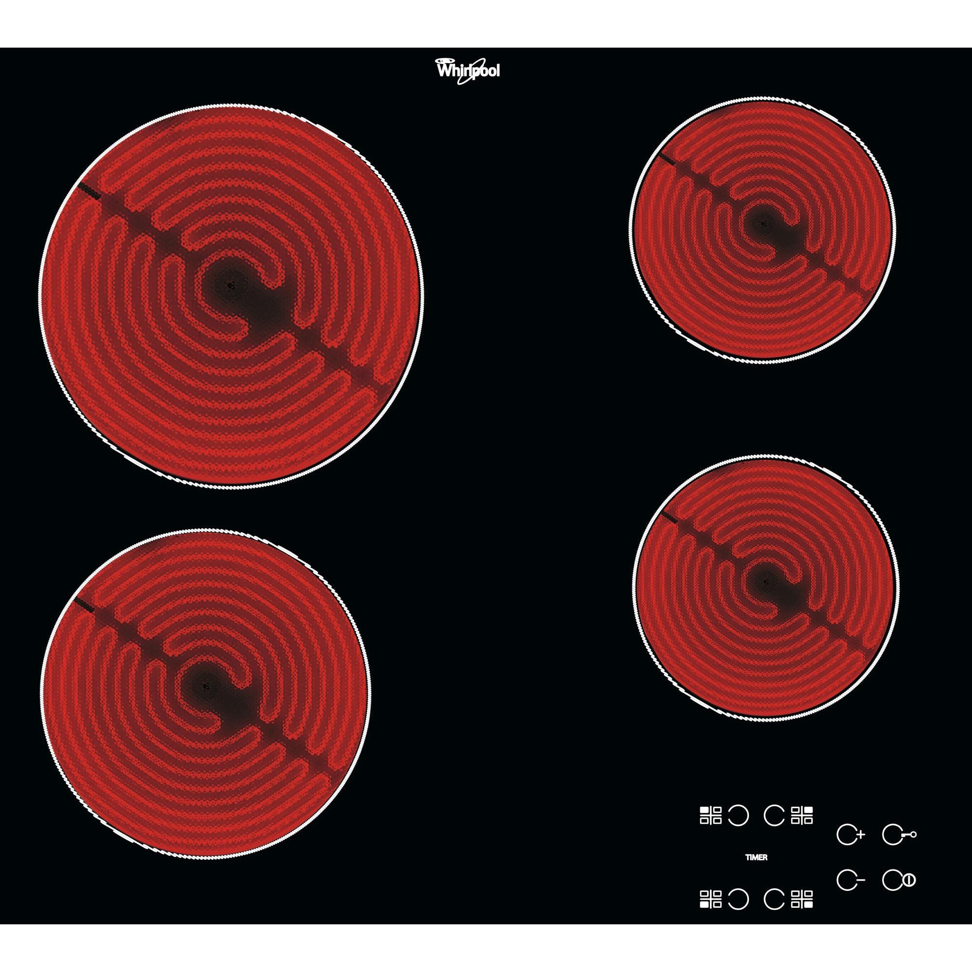 Fotografie Plita incorporabila Whirlpool AKT 8090/NE, Electrica, Vitroceramica, 4 Zone de gatit, Panou digital, Timer, 58 cm