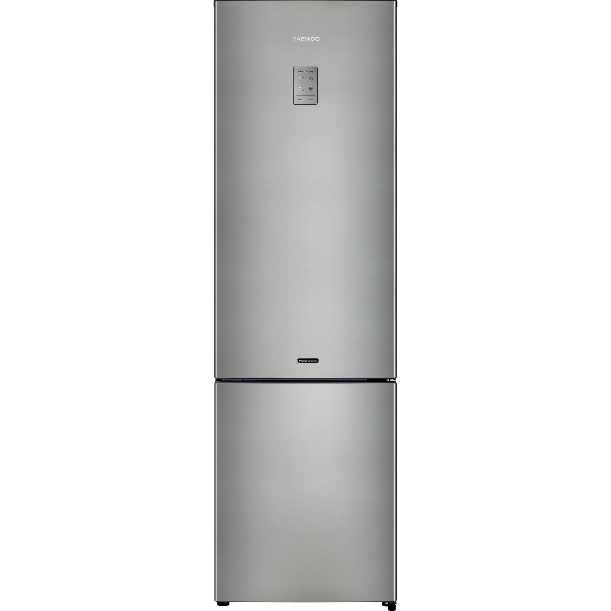 Fotografie Combina frigorifica Daewoo RN-N536RNS, 362 l, Clasa E, Full No Frost, Iluminare LED, H 200 cm, Inox