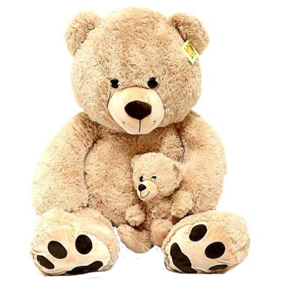 Fotografie Jucarie de plus Mappy Fluffy Friends, Ursul cu pui, 130 cm, bej
