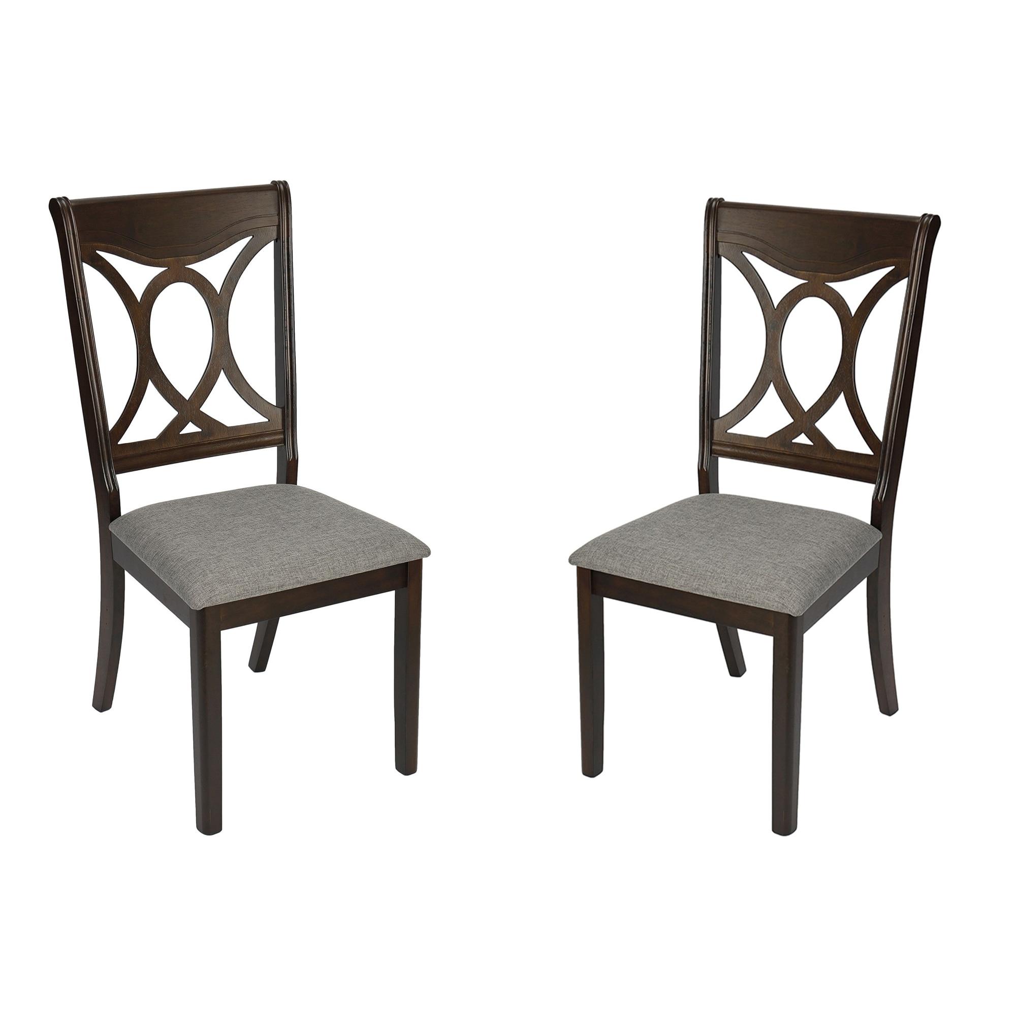 Fotografie Set 2 scaune tapitate bucatarie / dining Kring Louise, lemn masiv, Wenge