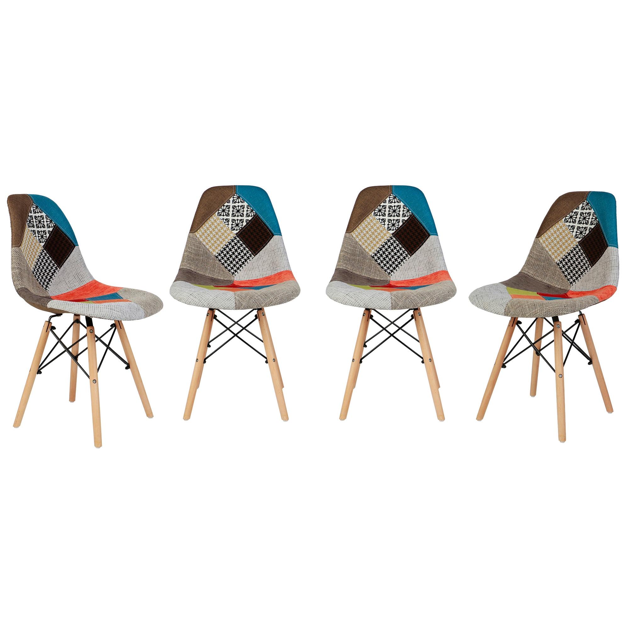 Fotografie Set 4 scaune Kring Kai, model patchwork, Multicolor