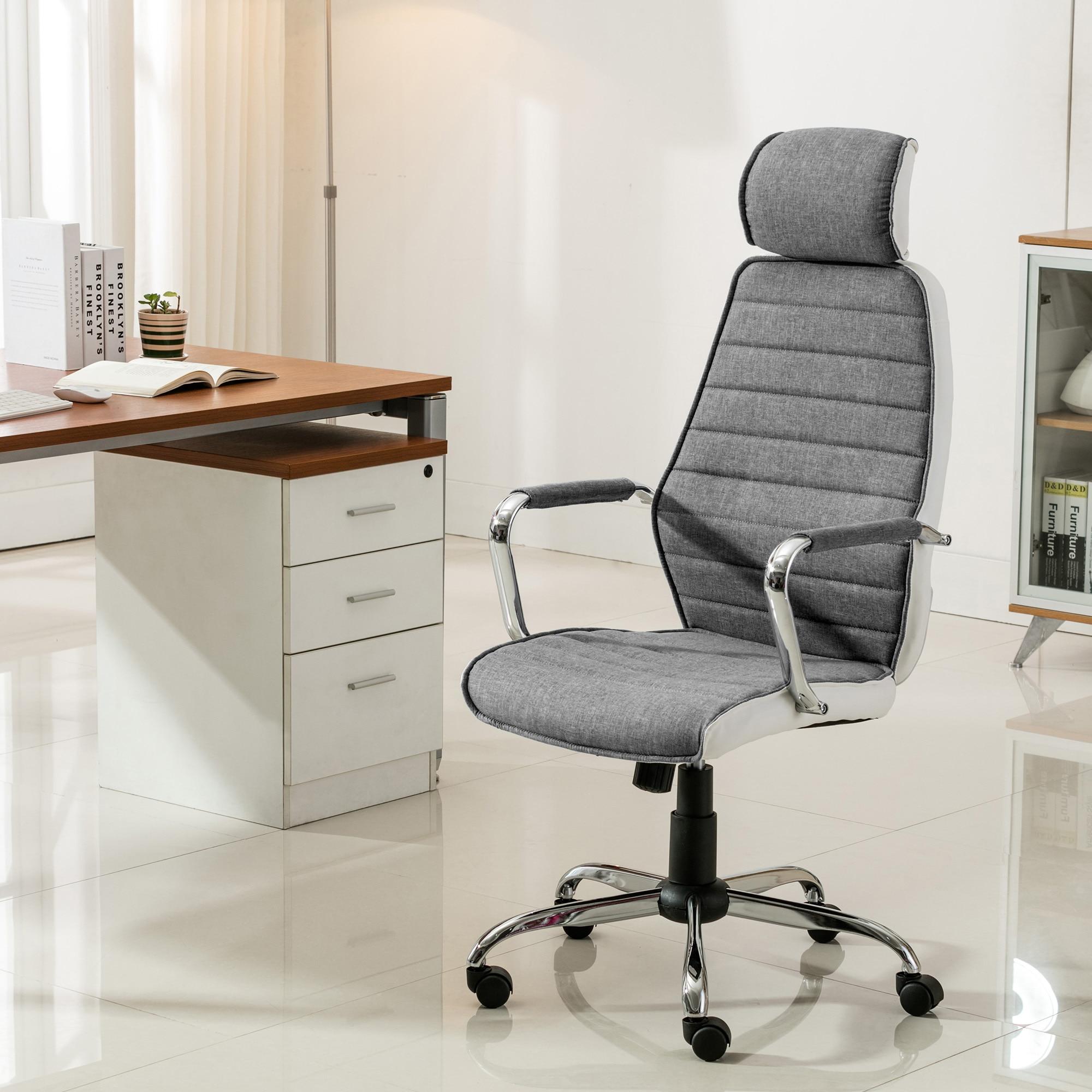 Fotografie Scaun de birou ergonomic Kring Walter, material textil + PU, Gri