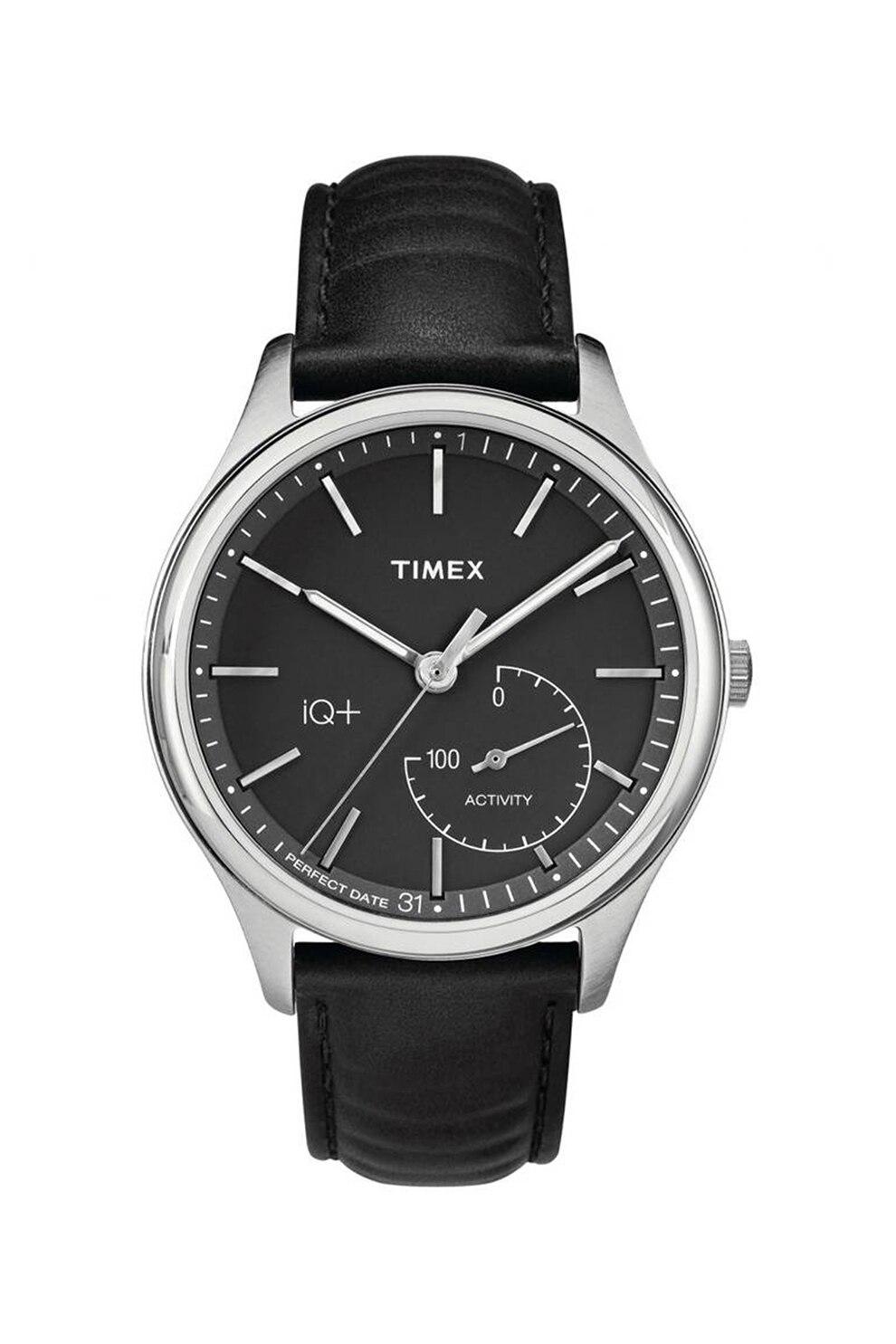 Fotografie Timex, Ceas quartz cu o curea de piele, Negru/Argintiu