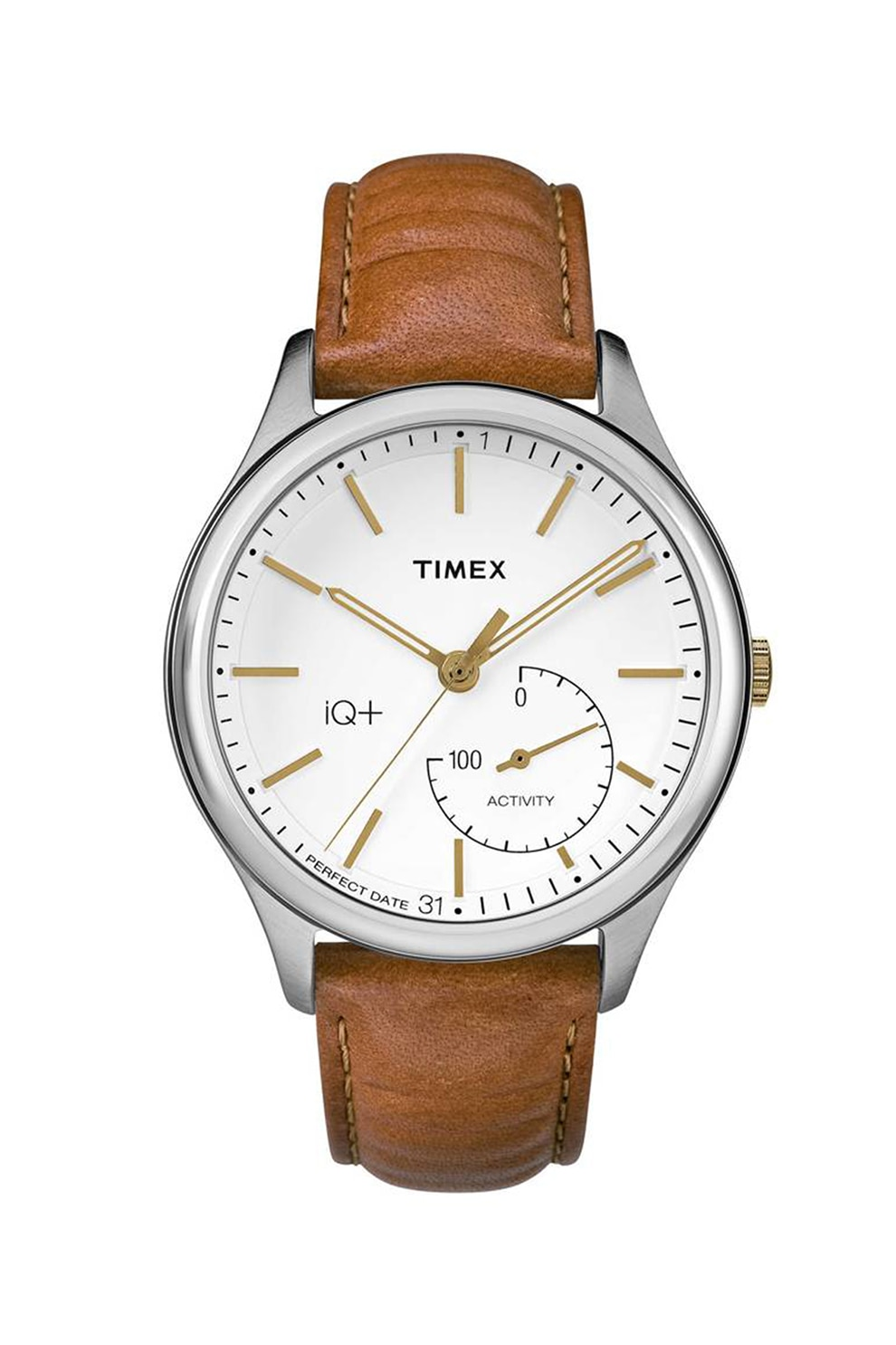 Fotografie Timex, Ceas unisex cu o curea de piele, Maro/Alb/Argintiu