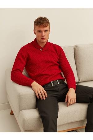 Мъжки пуловер с висока яка TOP SECRET 453582, Червен, XXL EU