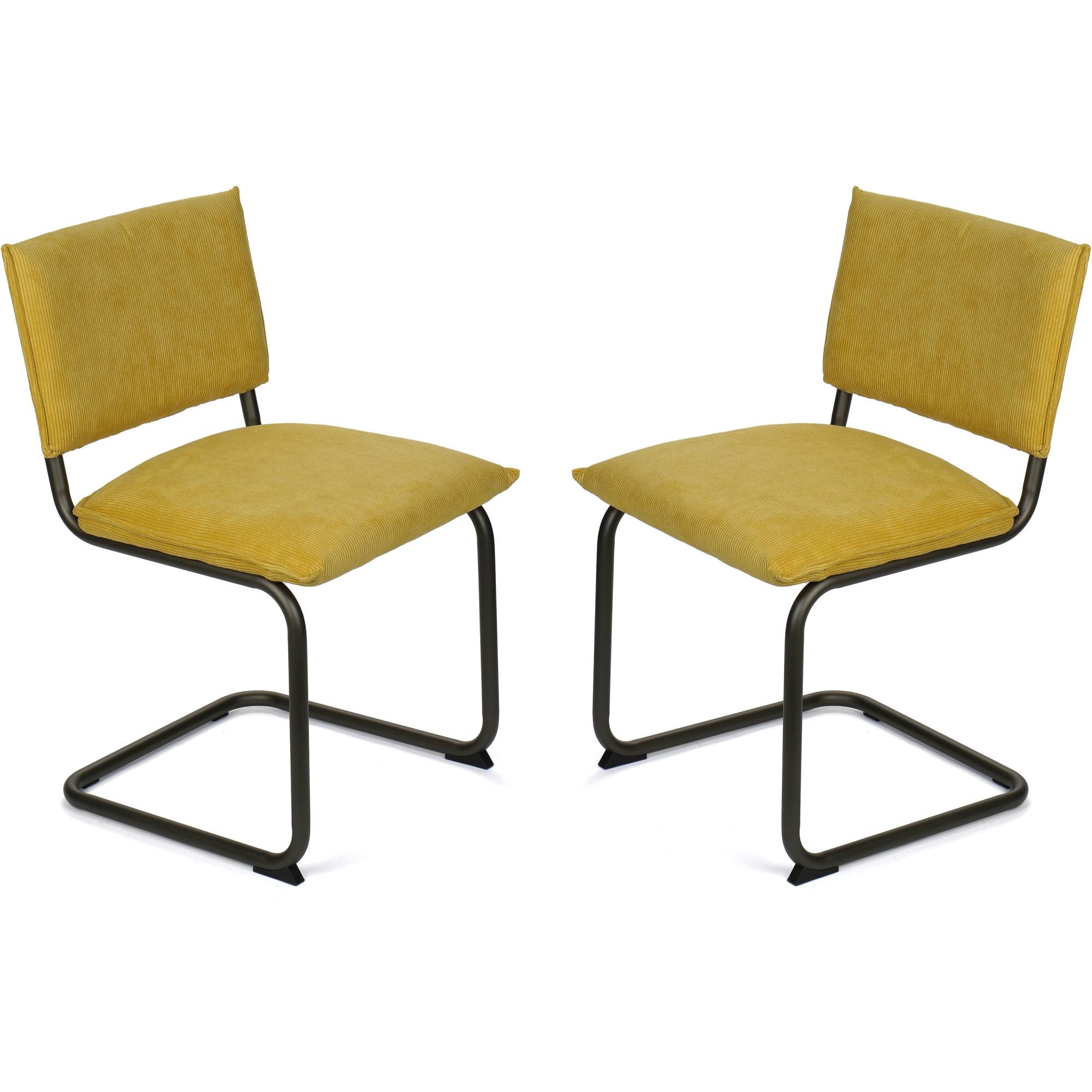 Fotografie Set 2 scaune Kring Chicago, metal si material textil, Galben Curry