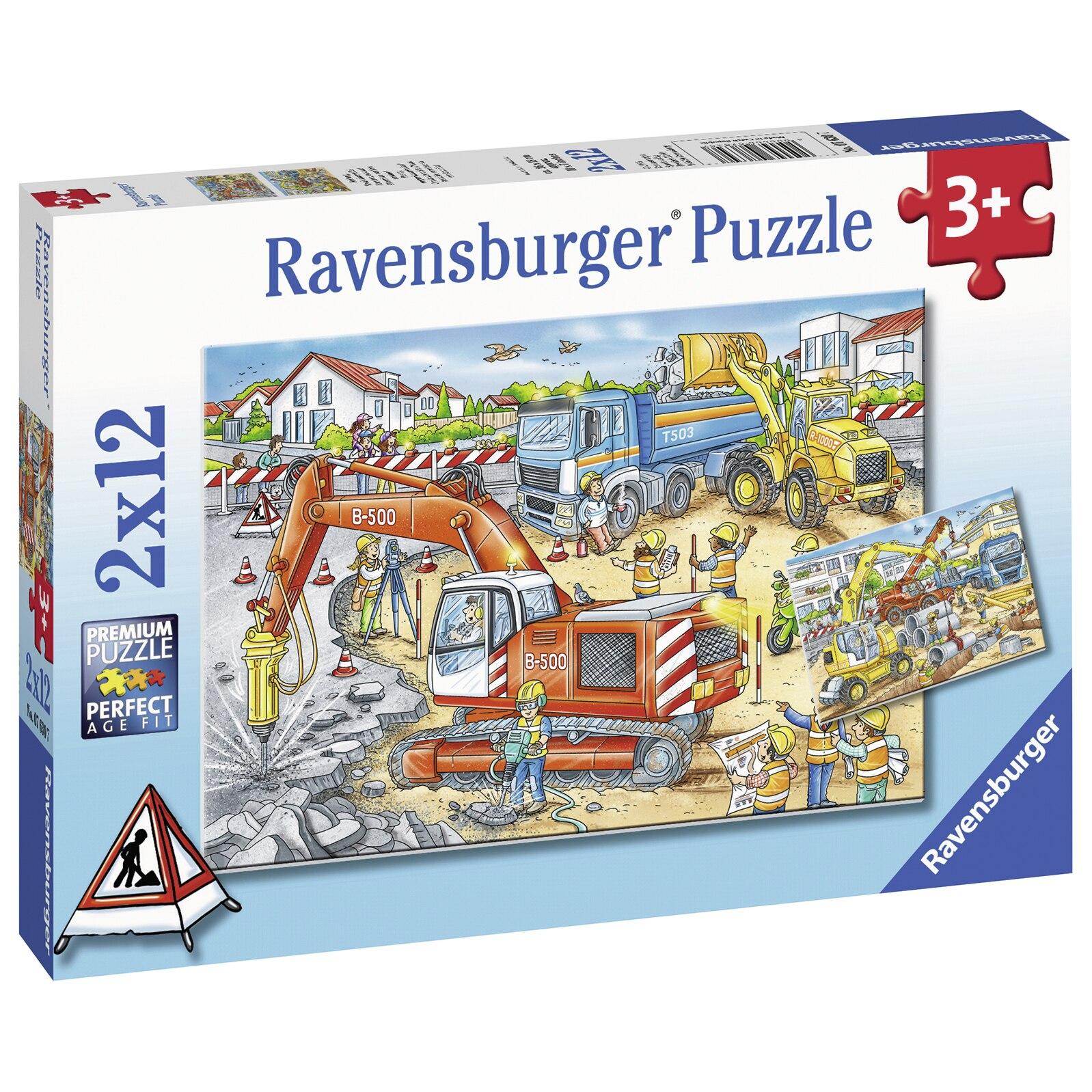 Fotografie Puzzle Ravensburger - Santier in lucru, 2 in 1, 2x12 piese