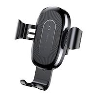 Безжично зарядно/стойка Baseus за телефон за кола с бързо зареждане, Wireless Charger, 10W, Qi, Универсално, Черно