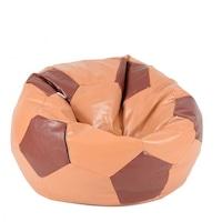 Пуф Pufrelax, тип топка, Telstar Junior - Caramel & Chocolate, PU кожа, Пълнеж от Полистиролни перли, подходящ за деца от 2-12г.