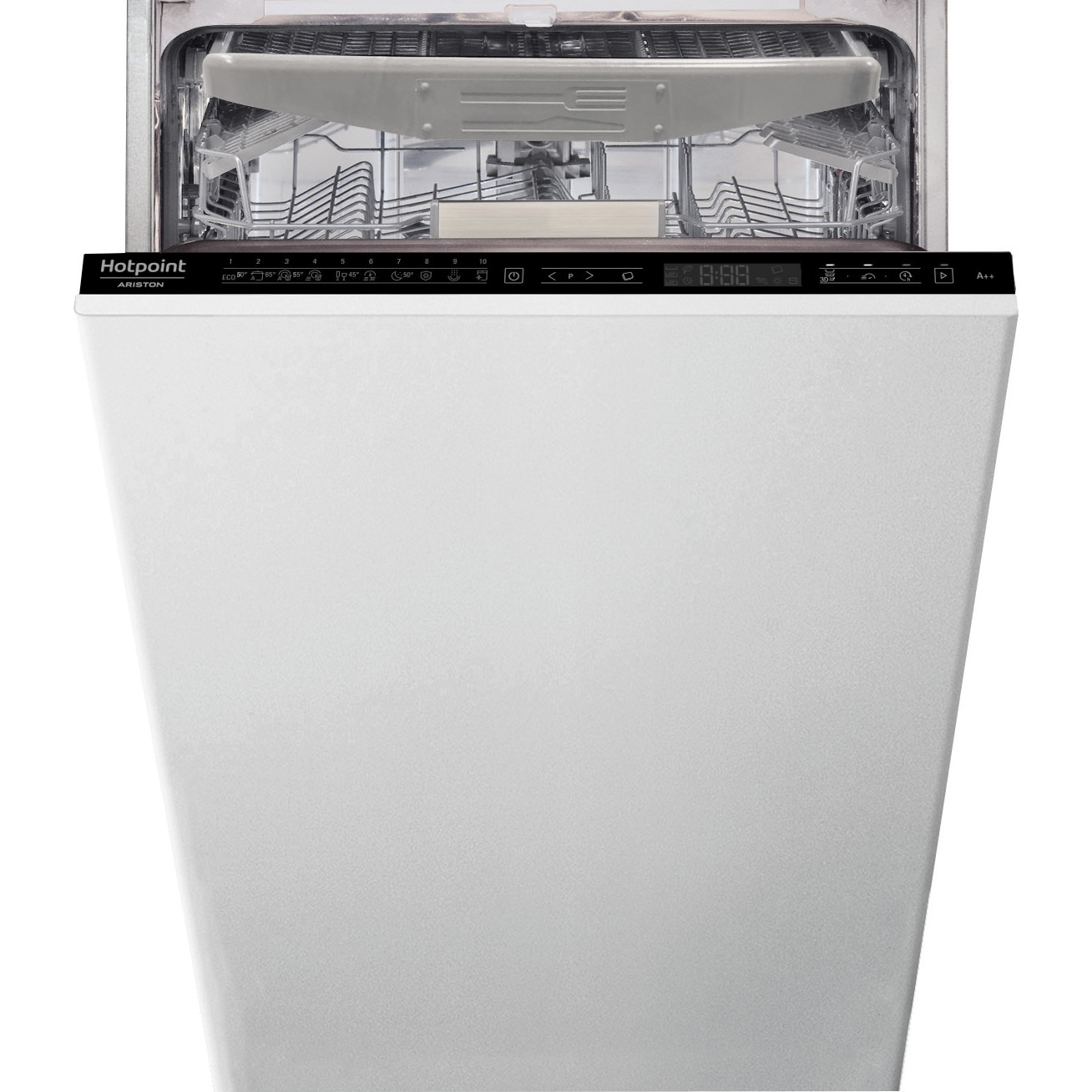 Fotografie Masina de spalat vase incorporabila Hotpoint HSIP4O21WFE, 10 seturi, 10 programe, Motor Inverter, Touch control, Clasa A++, 45 cm