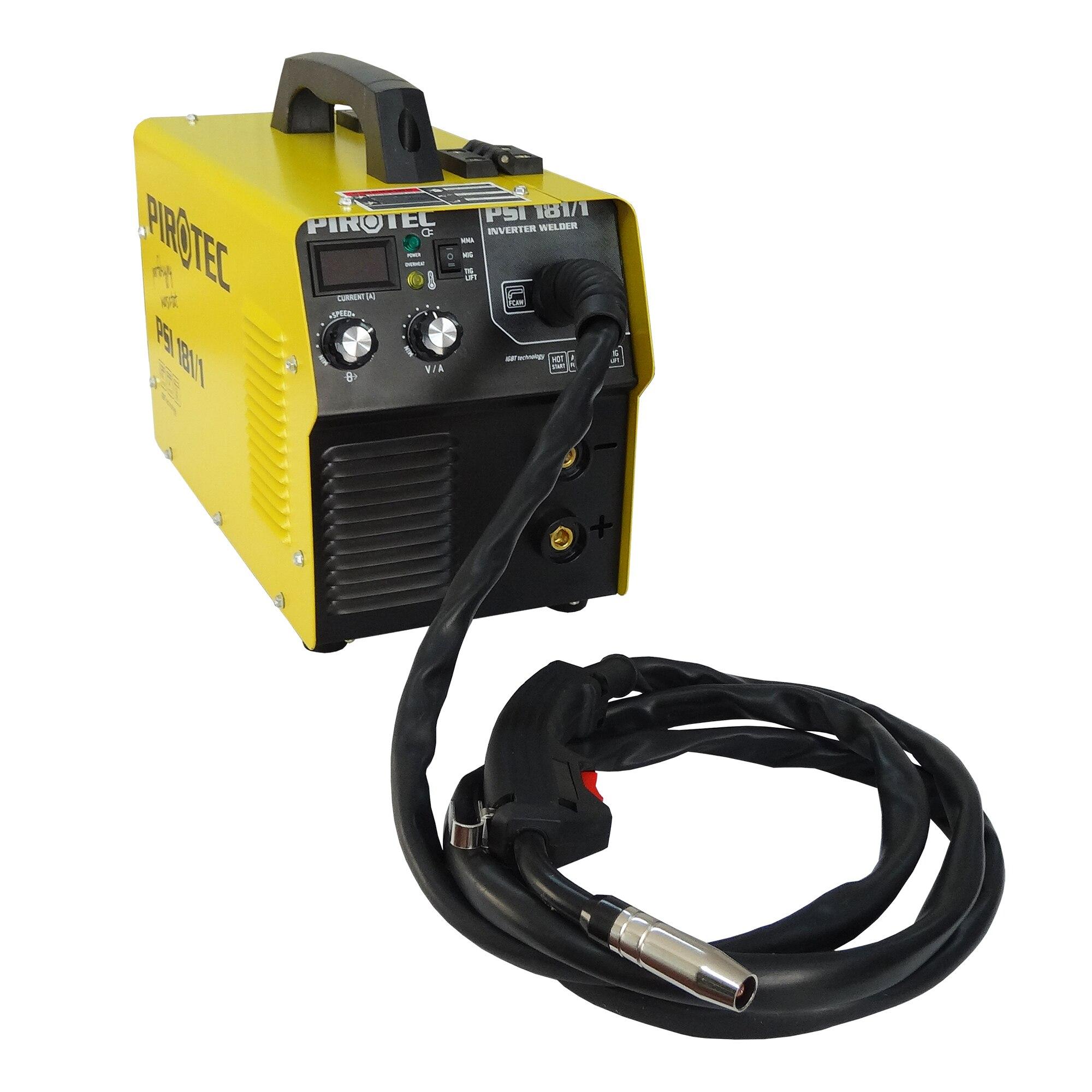 Fotografie Aparat de sudura PIROTEC MIG (CU GAZ/FARA GAZ -DOAR FLUX)&MMA -IGBT invertor, 160A, 230V, sarma 0,8-0,9mm, electrod 2,0-4,0mm, accesorii incluse. PSI 181/1 PIROTEC