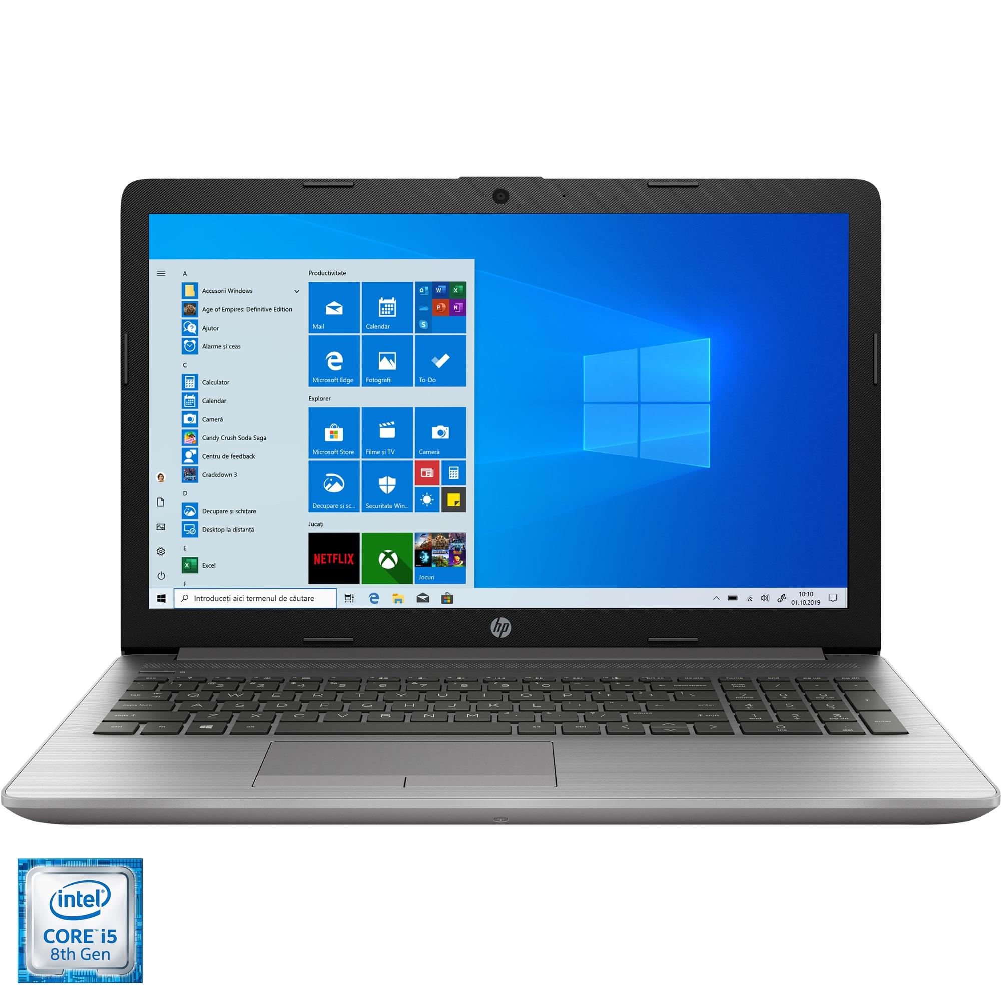 "Fotografie Laptop HP 250 G7 cu procesor Intel® Core™ i5-8265U pana la 3.90 GHz, Whiskey Lake, 15.6"", Full HD, 8GB, 512GB SSD, DVD-RW, Intel UHD Graphics 620, Windows 10 Pro, Silver"
