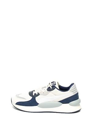Puma, Pantofi sport cu garnituri de piele intoarsa RS 9.8 Space, Alb/Bleumarin/Albastru prafuit, 7.5