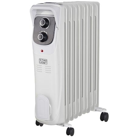 Ел. радиатор Star-Light YOH9, 2000 W, 9 ребра, 3 нива на мощност, Защитен термостат, Регулируем термостат, 5 канала олио, Светлинен индикатор, Сив