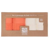 Square Nature Törölköző készlet, 4 darab, 30x50 cm, organikus pamut, Krém/Korall