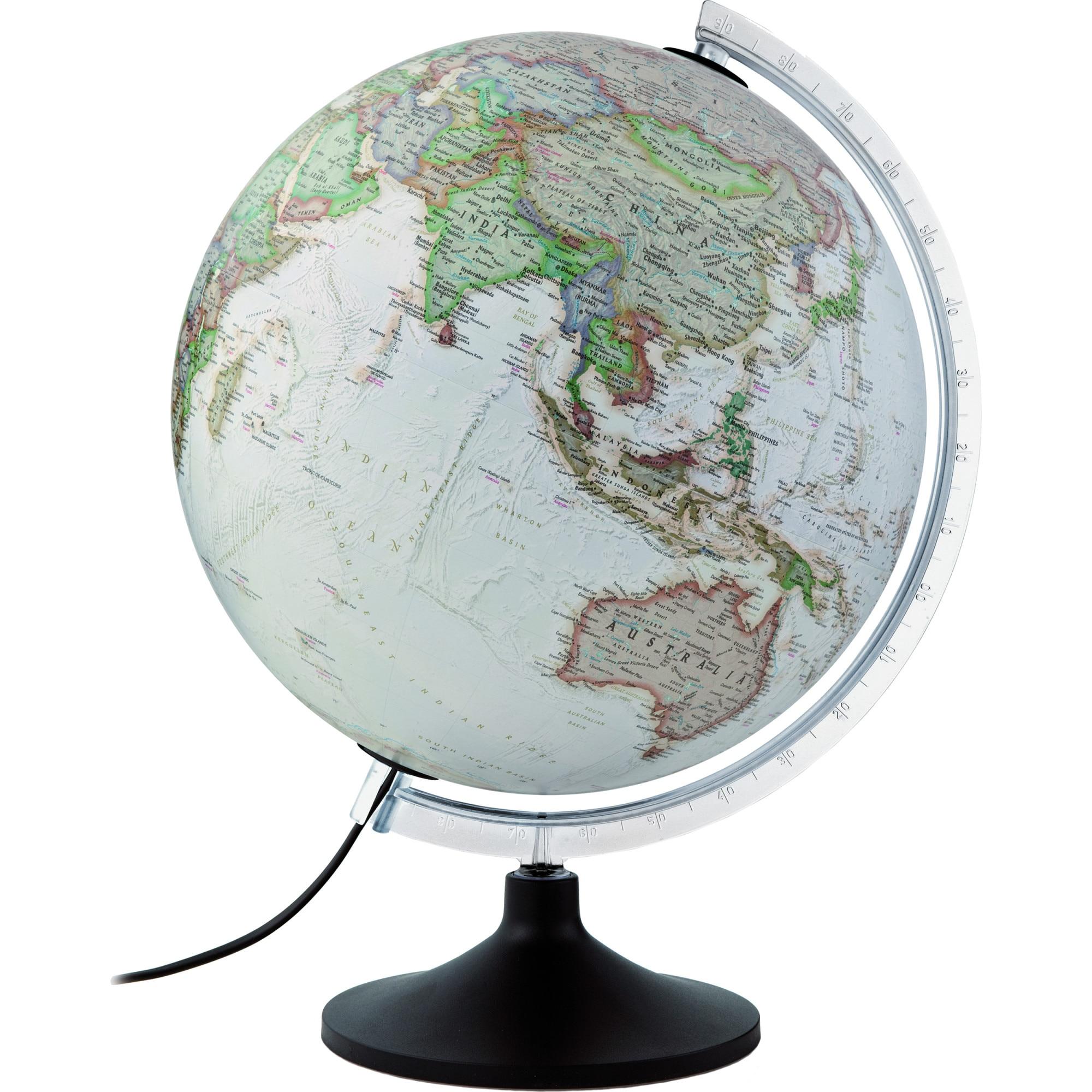Fotografie Glob iluminat Tecnodidattica CarbonExe, National Geographic 30 cm, piedestal lemn, meridian metalic