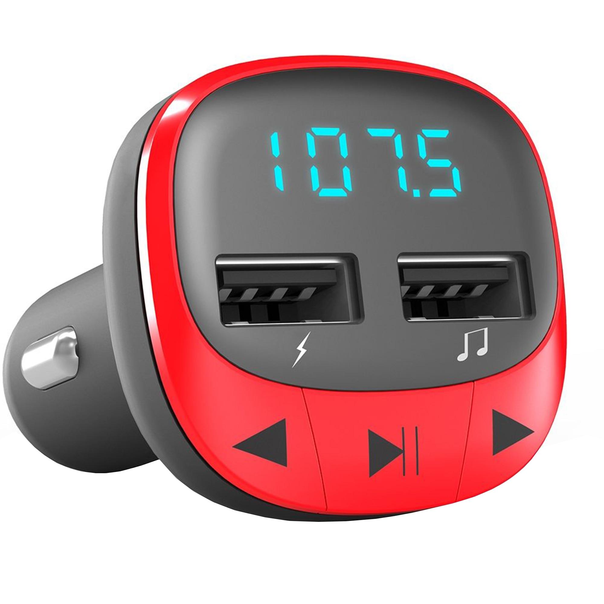 Fotografie Modulator FM Energy Sistem 44825 Rosu microSD, USB Charger, MP3