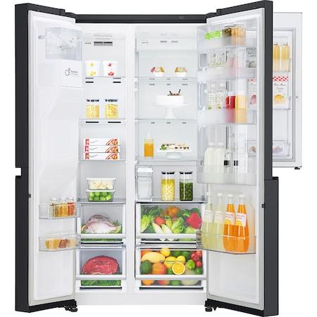 Хладилник Side by side LG GSJ761MCUZ, 600 л, Клас F, Full NoFrost, Door in Door, Диспенсър за вода, Компресор liniar Inverter, Smart Diagnosis, H 179 см, Черен