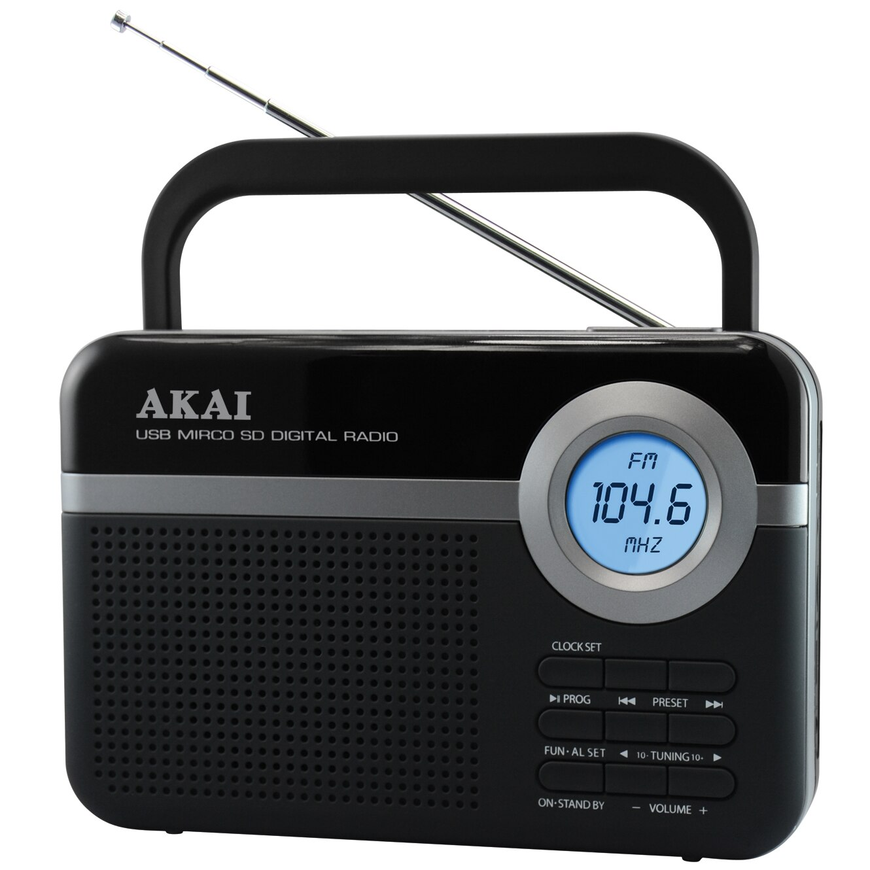 Fotografie Radio portabil AKAI PR006A-471U, USB/SD, Negru