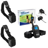 Електронен нашийник каишка, Телетакт за обучение, С дистанционно устройство, за 2 кучета, Черен