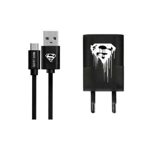 USB kábel DC - Superman 001 Apple Lightning adatkábel hálózati töltővel 1m fekete 1A bTpSxu