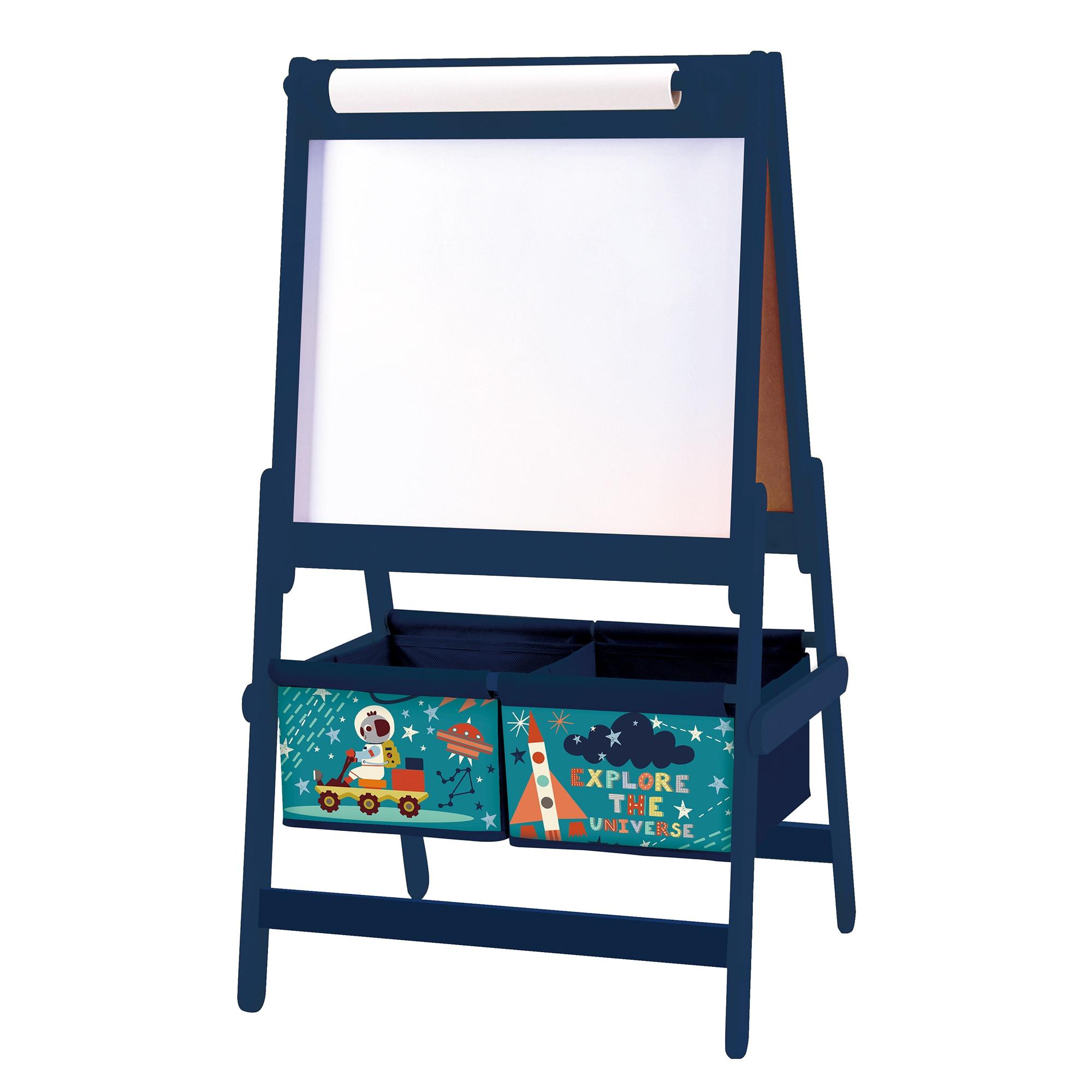 Fotografie Dulap depozitare jucarii Explore the universe, cu tabla de scris, Albastru