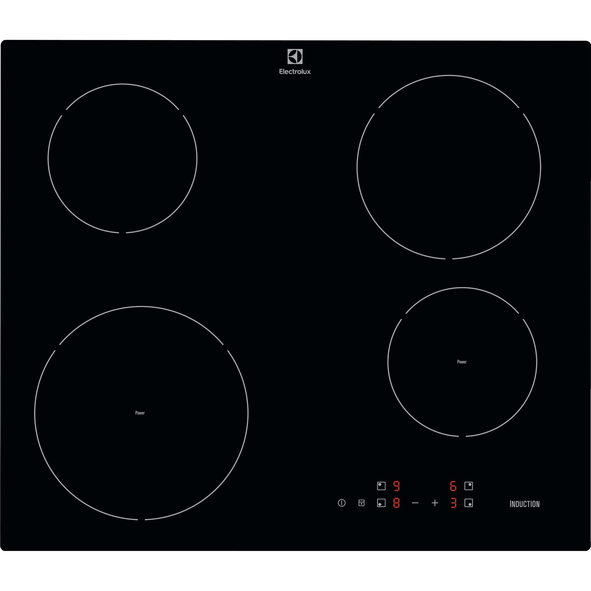 Fotografie Plita incorporabila Electrolux EIT60428C, Inductie, 4 zone de gatit, Control Touch, 60 cm, Sticla Neagra