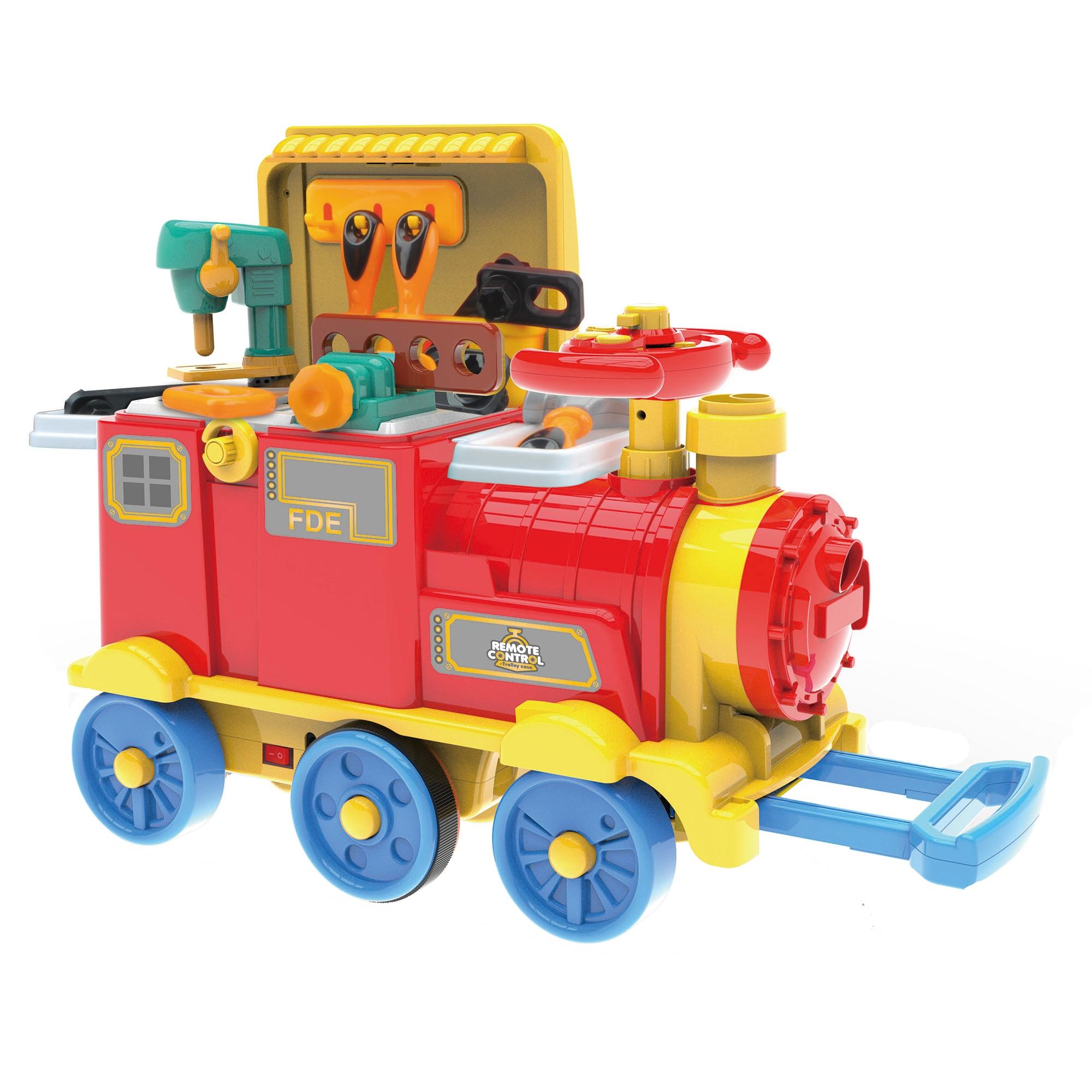 Fotografie Locomotiva ride-on Mappy 2 in 1, RC – Banc de lucru, cu accesorii