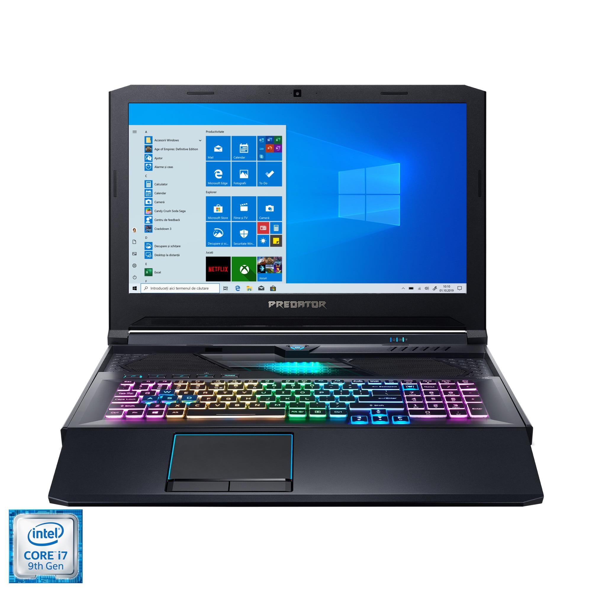 "Fotografie Laptop Gaming Acer Predator Helios 700 PH717-71 cu procesor Intel Core i7-9750H pana la 4.50 GHz, 17.3"", Full HD, 144Hz, G-Sync, 16GB, 1TB SSD, NVIDIA GeForce RTX2070 8GB, Windows 10 Home, Abyssal Black"