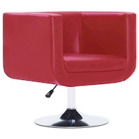 Въртящ фотьойл vidaXL, червен, 62х56х76 см, изкуствена кожа