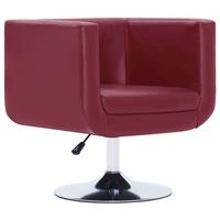 Въртящ се фотьойл vidaXL, виненочервен, изкуствена кожа, 62х56х76 см
